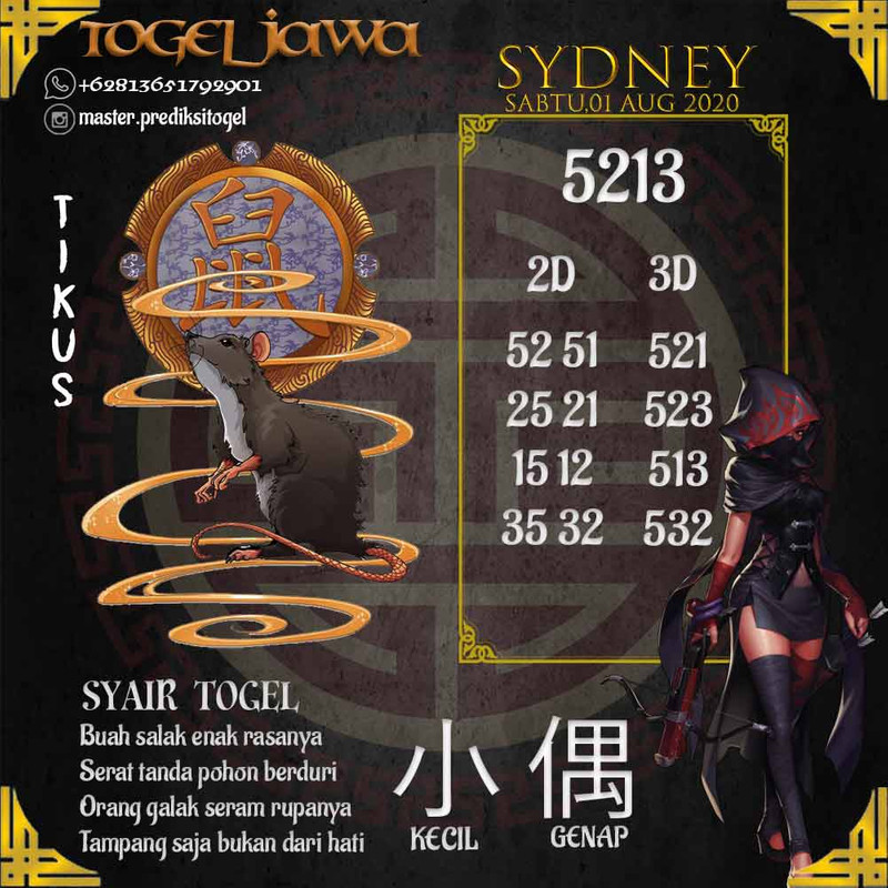 Prediksi Sydney Tanggal 2020-08-01