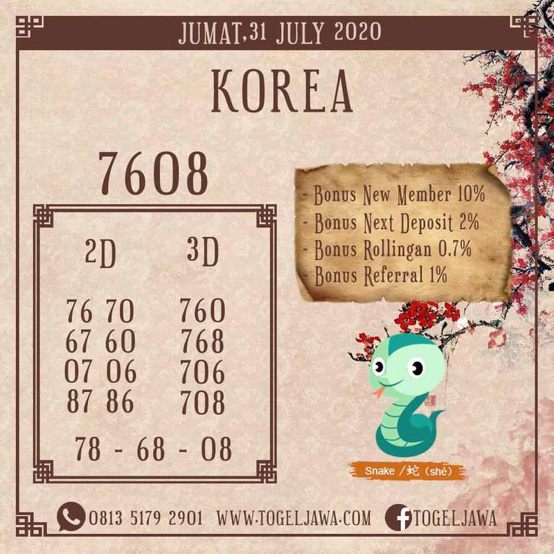 Prediksi Korea Tanggal 2020-07-31