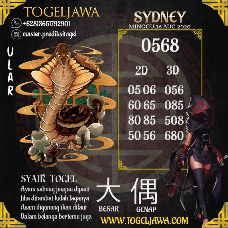 Prediksi Sydney Tanggal 2020-08-16
