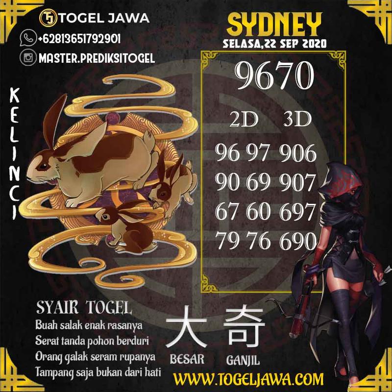 Prediksi Sydney Tanggal 2020-09-22