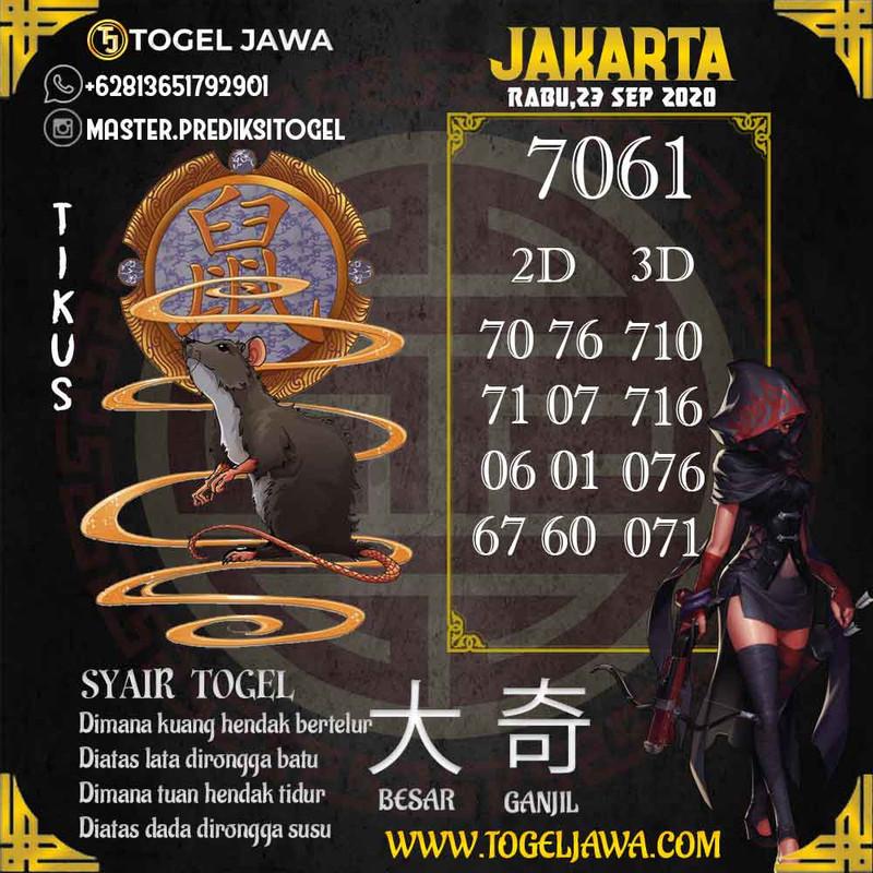 Prediksi Jakarta Tanggal 2020-09-23