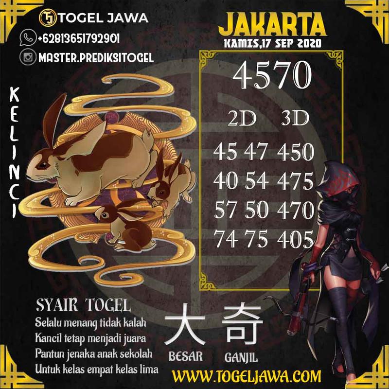 Prediksi Jakarta Tanggal 2020-09-17