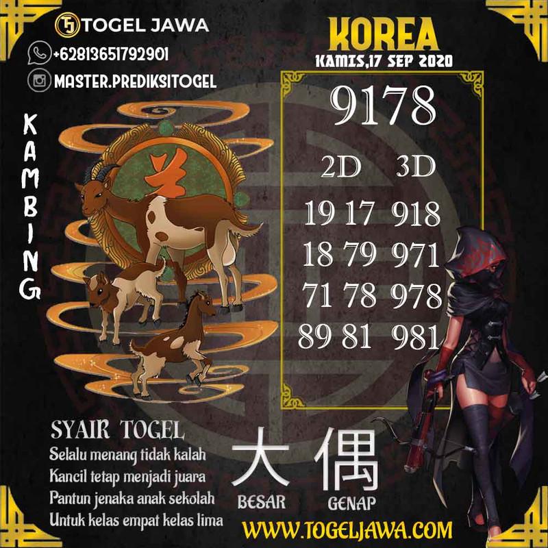 Prediksi Korea Tanggal 2020-09-17