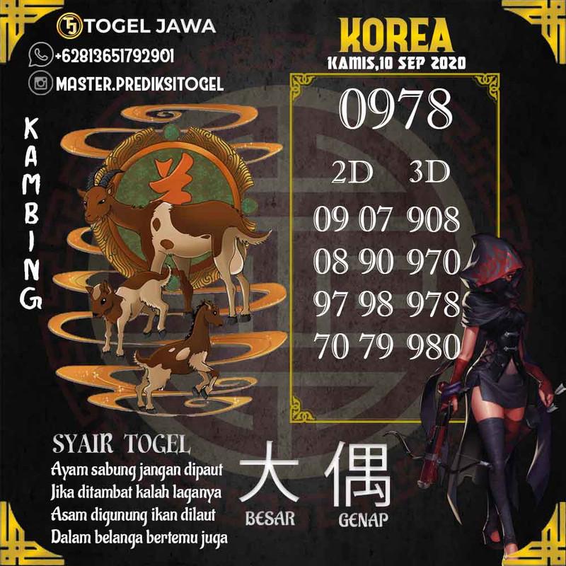 Prediksi Korea Tanggal 2020-09-10