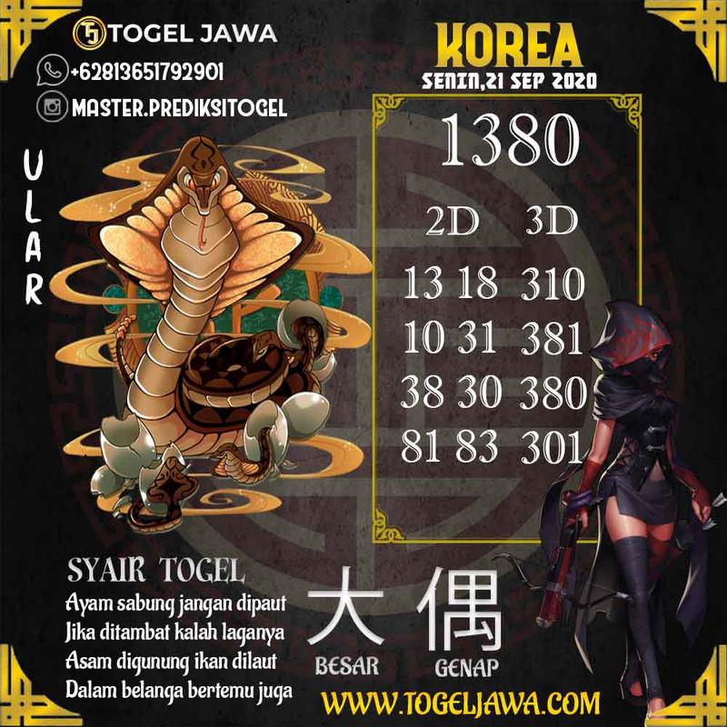 Prediksi Korea Tanggal 2020-09-21