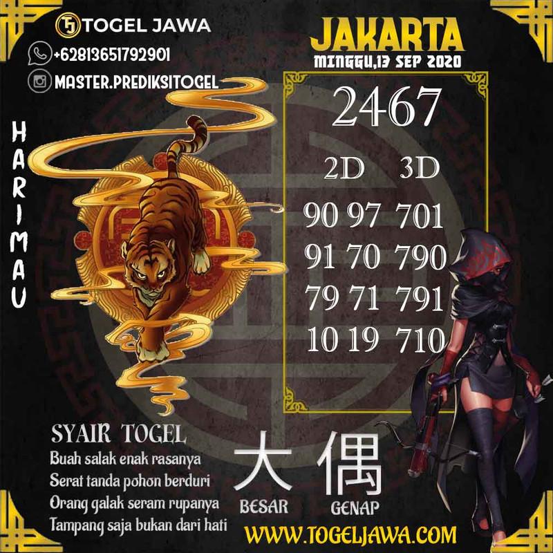 Prediksi Jakarta Tanggal 2020-09-13