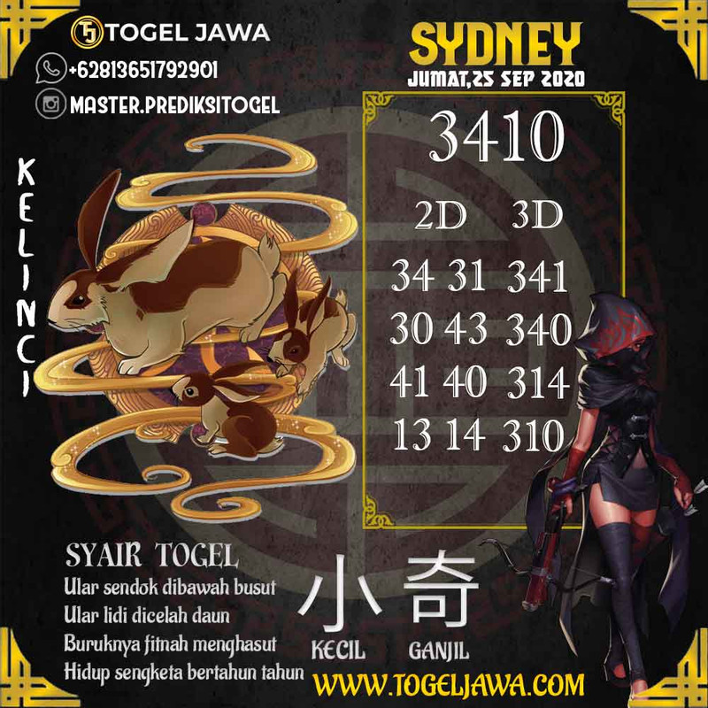 Prediksi Sydney Tanggal 2020-09-25