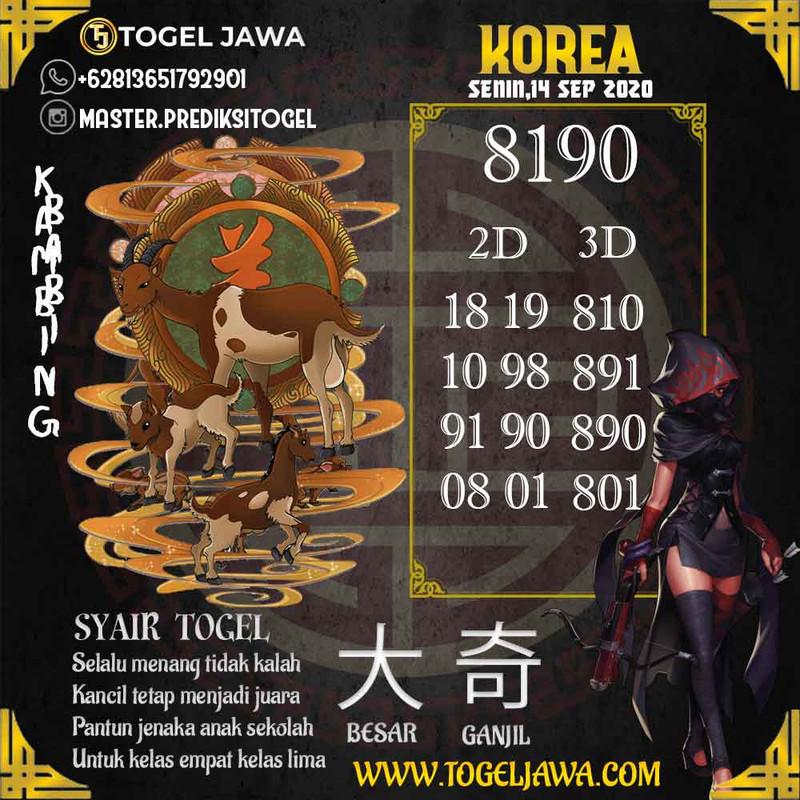 Prediksi Korea Tanggal 2020-09-14