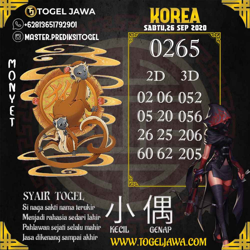 Prediksi Korea Tanggal 2020-09-26