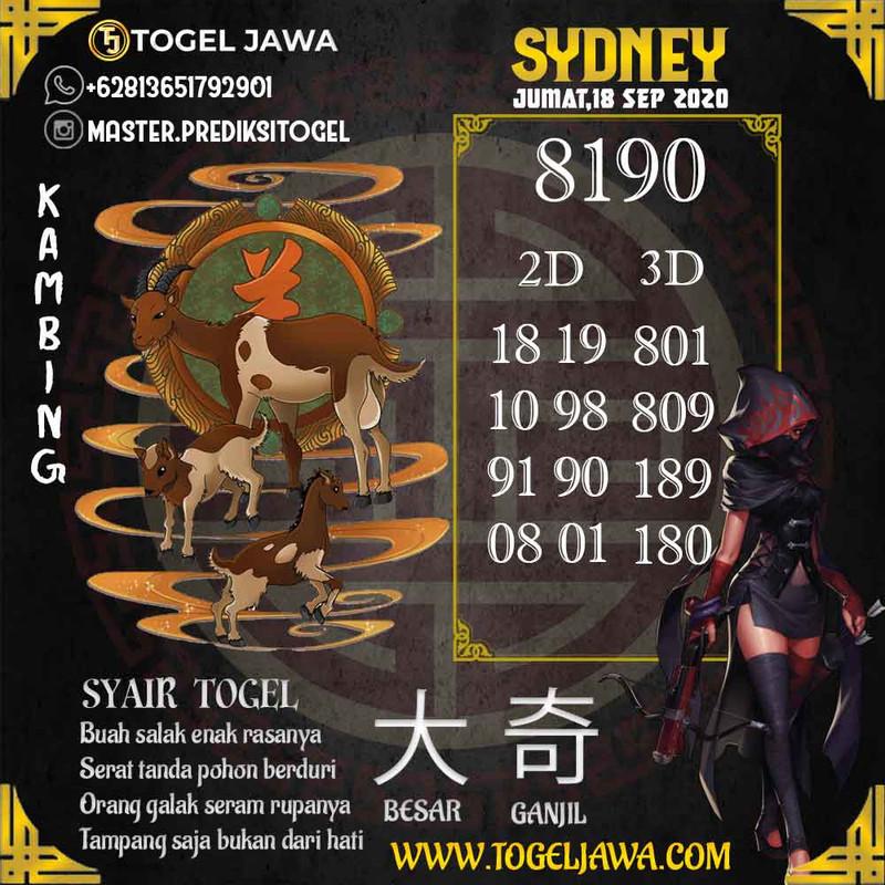 Prediksi Sydney Tanggal 2020-09-18