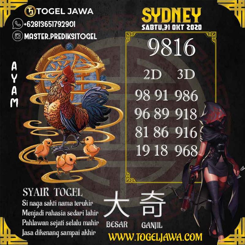 Prediksi Sydney Tanggal 2020-10-31