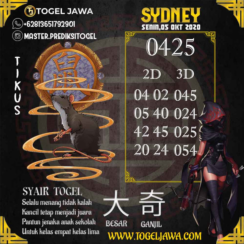 Prediksi Sydney Tanggal 2020-10-05
