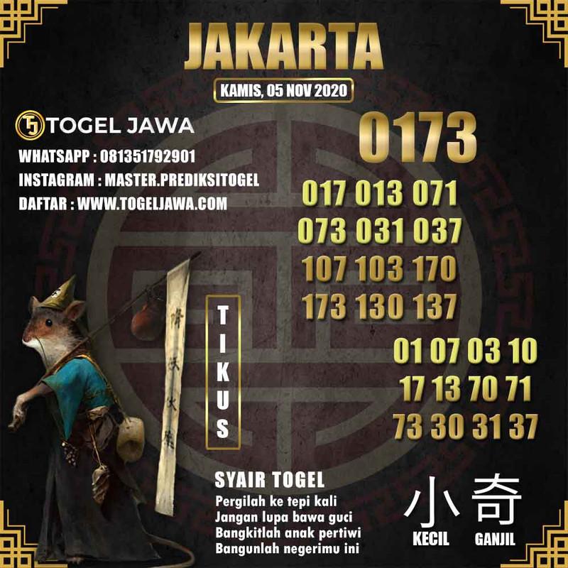 Prediksi Jakarta Tanggal 2020-11-05