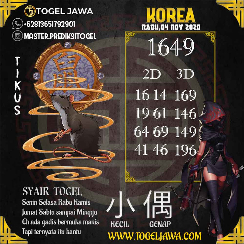 Prediksi Korea Tanggal 2020-11-04