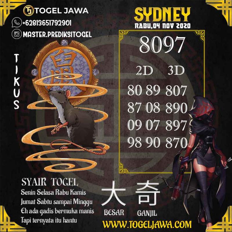 Prediksi Sydney Tanggal 2020-11-04