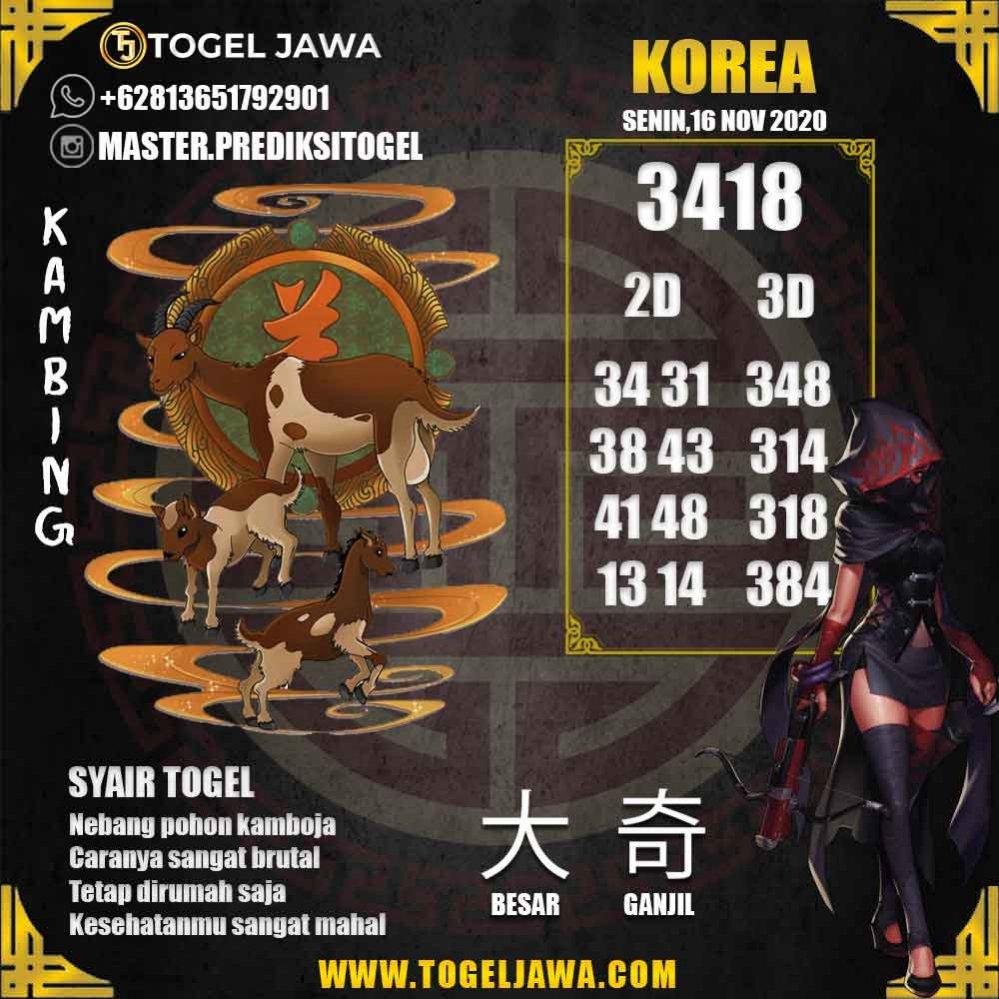Prediksi Korea Tanggal 2020-11-16