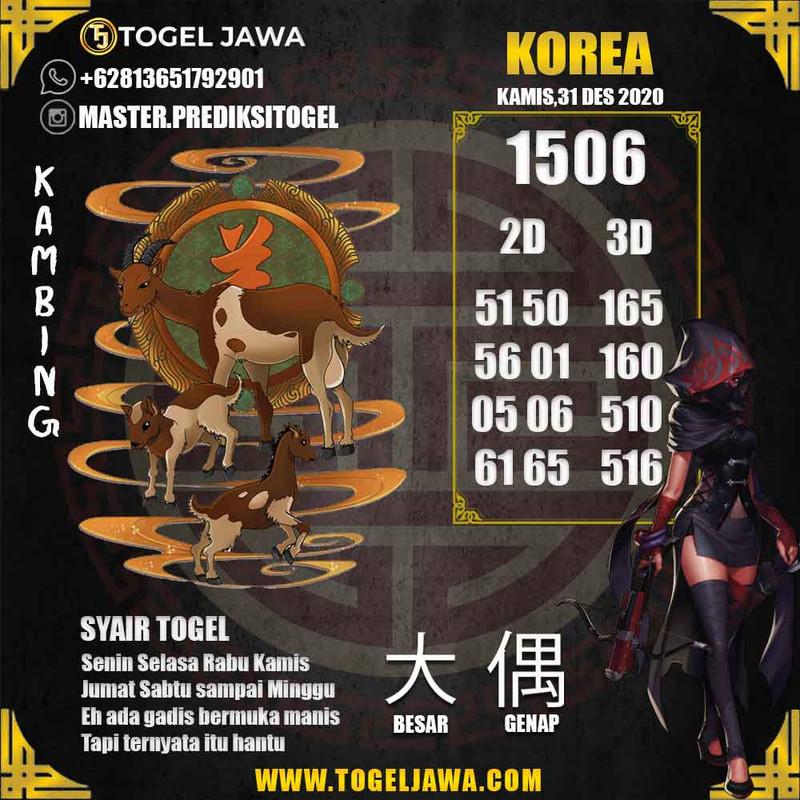 Prediksi Korea Tanggal 2020-12-31