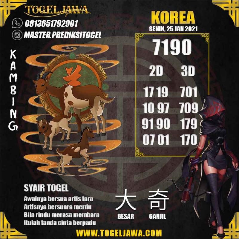 Prediksi Korea Tanggal 2021-01-25