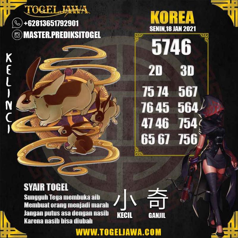 Prediksi Korea Tanggal 2021-01-18