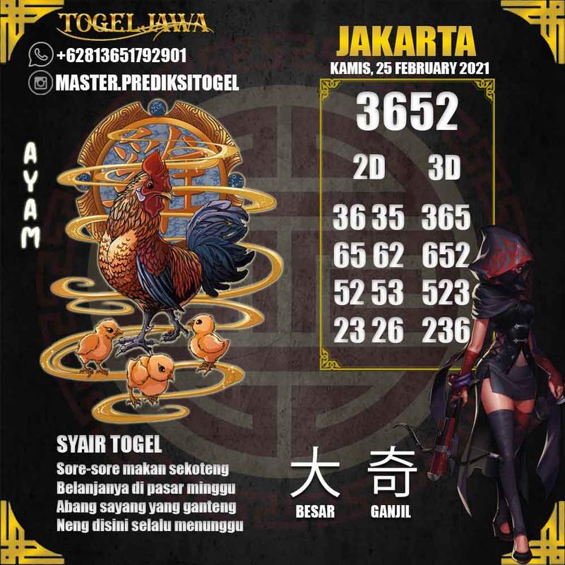 Prediksi Jakarta Tanggal 2021-02-25