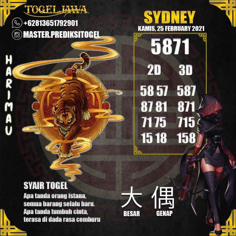 Prediksi Sydney Tanggal 2021-02-25