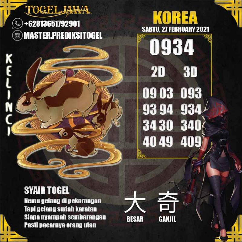 Prediksi Korea Tanggal 2021-02-27