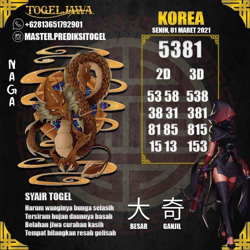 Prediksi Korea Tanggal 2021-03-01