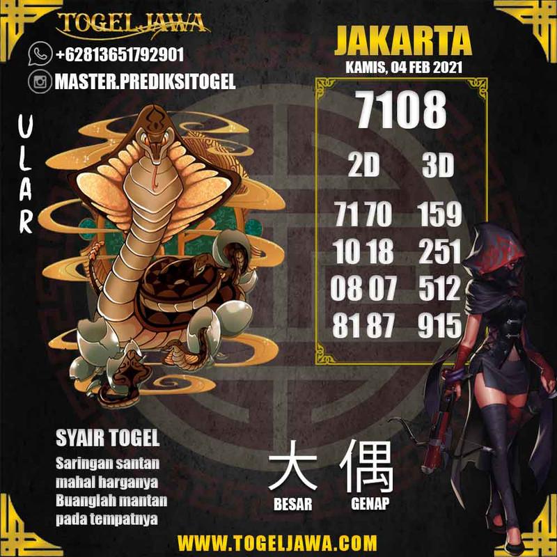 Prediksi Jakarta Tanggal 2021-02-04