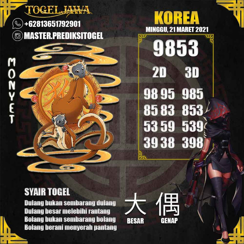 Prediksi Korea Tanggal 2021-03-21