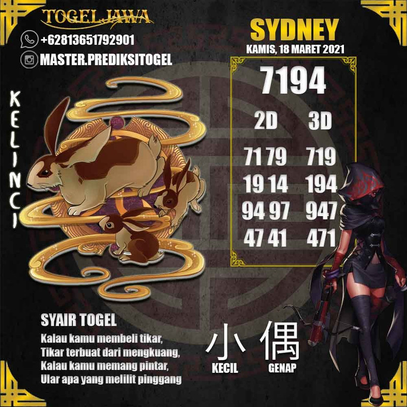 Prediksi Sydney Tanggal 2021-03-18