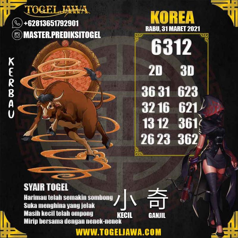 Prediksi Korea Tanggal 2021-03-31